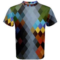 Diamond Abstract Background Background Of Diamonds In Colors Of Orange Yellow Green Blue And More Men s Cotton Tee