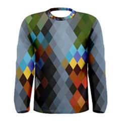 Diamond Abstract Background Background Of Diamonds In Colors Of Orange Yellow Green Blue And More Men s Long Sleeve Tee