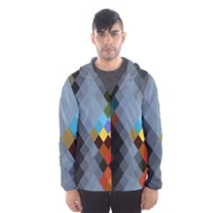 Diamond Abstract Background Background Of Diamonds In Colors Of Orange Yellow Green Blue And More Hooded Wind Breaker (Men)