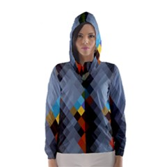 Diamond Abstract Background Background Of Diamonds In Colors Of Orange Yellow Green Blue And More Hooded Wind Breaker (Women)