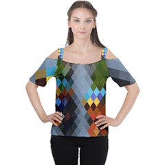 Diamond Abstract Background Background Of Diamonds In Colors Of Orange Yellow Green Blue And More Women s Cutout Shoulder Tee