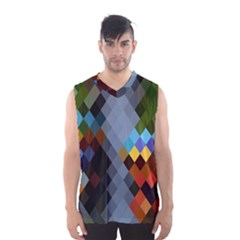 Diamond Abstract Background Background Of Diamonds In Colors Of Orange Yellow Green Blue And More Men s Basketball Tank Top