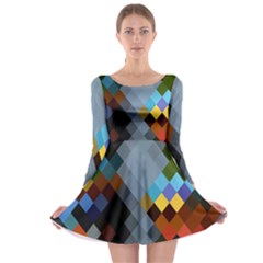 Diamond Abstract Background Background Of Diamonds In Colors Of Orange Yellow Green Blue And More Long Sleeve Skater Dress