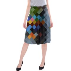 Diamond Abstract Background Background Of Diamonds In Colors Of Orange Yellow Green Blue And More Midi Beach Skirt
