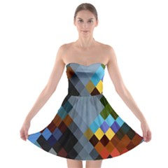 Diamond Abstract Background Background Of Diamonds In Colors Of Orange Yellow Green Blue And More Strapless Bra Top Dress