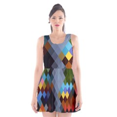Diamond Abstract Background Background Of Diamonds In Colors Of Orange Yellow Green Blue And More Scoop Neck Skater Dress