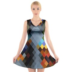 Diamond Abstract Background Background Of Diamonds In Colors Of Orange Yellow Green Blue And More V Neck Sleeveless Skater Dress