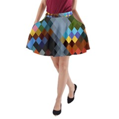 Diamond Abstract Background Background Of Diamonds In Colors Of Orange Yellow Green Blue And More A-Line Pocket Skirt