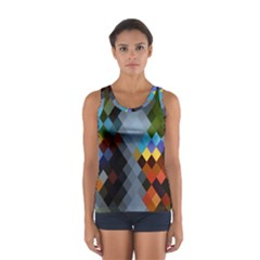 Diamond Abstract Background Background Of Diamonds In Colors Of Orange Yellow Green Blue And More Women s Sport Tank Top