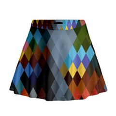 Diamond Abstract Background Background Of Diamonds In Colors Of Orange Yellow Green Blue And More Mini Flare Skirt