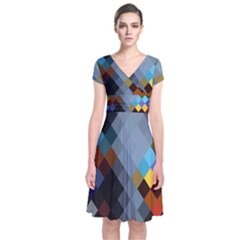 Diamond Abstract Background Background Of Diamonds In Colors Of Orange Yellow Green Blue And More Short Sleeve Front Wrap Dress