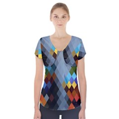 Diamond Abstract Background Background Of Diamonds In Colors Of Orange Yellow Green Blue And More Short Sleeve Front Detail Top