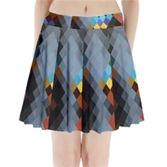 Diamond Abstract Background Background Of Diamonds In Colors Of Orange Yellow Green Blue And More Pleated Mini Skirt