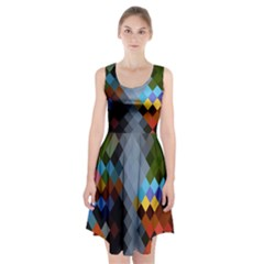 Diamond Abstract Background Background Of Diamonds In Colors Of Orange Yellow Green Blue And More Racerback Midi Dress