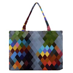 Diamond Abstract Background Background Of Diamonds In Colors Of Orange Yellow Green Blue And More Medium Zipper Tote Bag