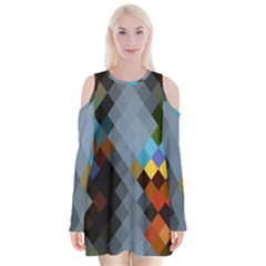 Diamond Abstract Background Background Of Diamonds In Colors Of Orange Yellow Green Blue And More Velvet Long Sleeve Shoulder Cutout Dress