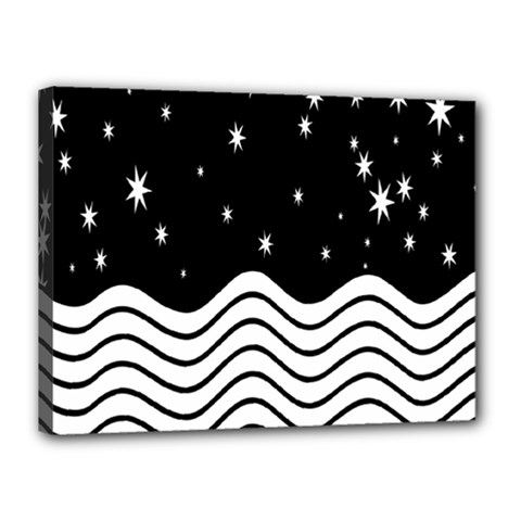 Black And White Waves And Stars Abstract Backdrop Clipart Canvas 16  x 12