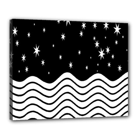 Black And White Waves And Stars Abstract Backdrop Clipart Canvas 20  X 16