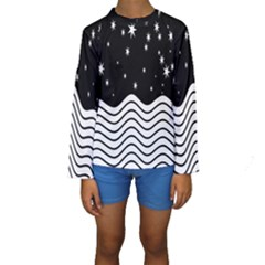 Black And White Waves And Stars Abstract Backdrop Clipart Kids  Long Sleeve Swimwear