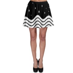Black And White Waves And Stars Abstract Backdrop Clipart Skater Skirt