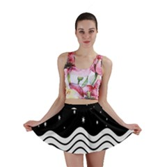 Black And White Waves And Stars Abstract Backdrop Clipart Mini Skirt