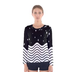 Black And White Waves And Stars Abstract Backdrop Clipart Women s Long Sleeve Tee