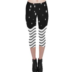 Black And White Waves And Stars Abstract Backdrop Clipart Capri Leggings