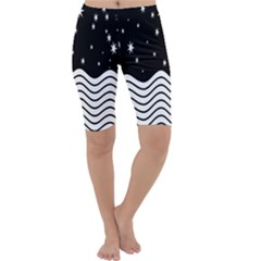 Black And White Waves And Stars Abstract Backdrop Clipart Cropped Leggings