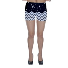 Black And White Waves And Stars Abstract Backdrop Clipart Skinny Shorts