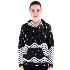 Black And White Waves And Stars Abstract Backdrop Clipart Women s Zipper Hoodie