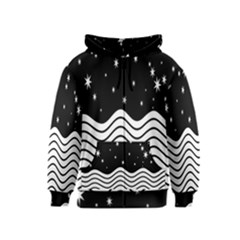 Black And White Waves And Stars Abstract Backdrop Clipart Kids  Zipper Hoodie