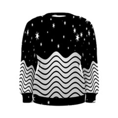 Black And White Waves And Stars Abstract Backdrop Clipart Women s Sweatshirt