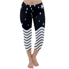 Black And White Waves And Stars Abstract Backdrop Clipart Capri Winter Leggings