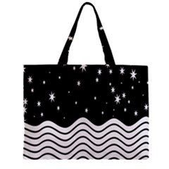 Black And White Waves And Stars Abstract Backdrop Clipart Zipper Mini Tote Bag