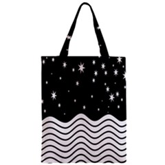 Black And White Waves And Stars Abstract Backdrop Clipart Zipper Classic Tote Bag