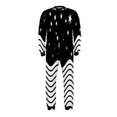 Black And White Waves And Stars Abstract Backdrop Clipart Onepiece Jumpsuit (kids)