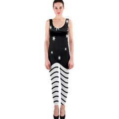 Black And White Waves And Stars Abstract Backdrop Clipart OnePiece Catsuit