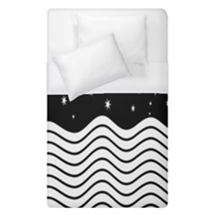 Black And White Waves And Stars Abstract Backdrop Clipart Duvet Cover (single Size)