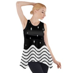 Black And White Waves And Stars Abstract Backdrop Clipart Side Drop Tank Tunic