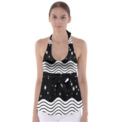 Black And White Waves And Stars Abstract Backdrop Clipart Babydoll Tankini Top