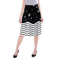 Black And White Waves And Stars Abstract Backdrop Clipart Midi Beach Skirt