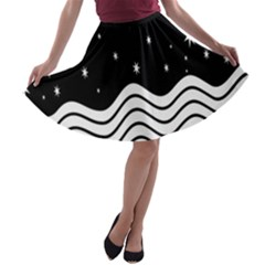 Black And White Waves And Stars Abstract Backdrop Clipart A Line Skater Skirt