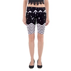 Black And White Waves And Stars Abstract Backdrop Clipart Yoga Cropped Leggings