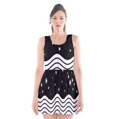 Black And White Waves And Stars Abstract Backdrop Clipart Scoop Neck Skater Dress