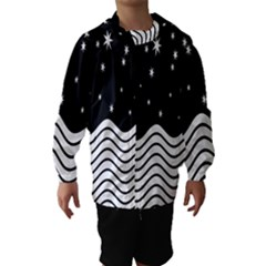Black And White Waves And Stars Abstract Backdrop Clipart Hooded Wind Breaker (Kids)