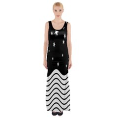 Black And White Waves And Stars Abstract Backdrop Clipart Maxi Thigh Split Dress