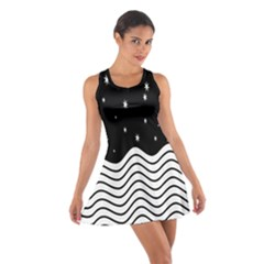 Black And White Waves And Stars Abstract Backdrop Clipart Cotton Racerback Dress