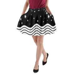 Black And White Waves And Stars Abstract Backdrop Clipart A-Line Pocket Skirt