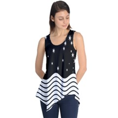 Black And White Waves And Stars Abstract Backdrop Clipart Sleeveless Tunic