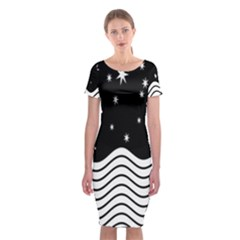 Black And White Waves And Stars Abstract Backdrop Clipart Classic Short Sleeve Midi Dress